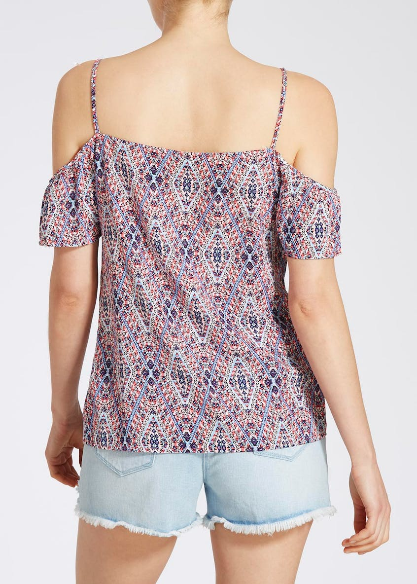 Aztec Print Cold Shoulder Blouse