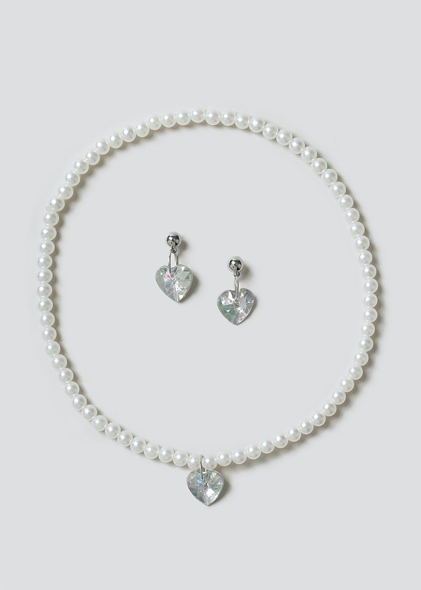 Pearl Heart And Earring Set