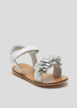 Girls Real Leather Ruffle Flower Sandals (Younger 4-12)