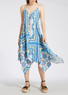 Tile Print Hanky Hem Dress