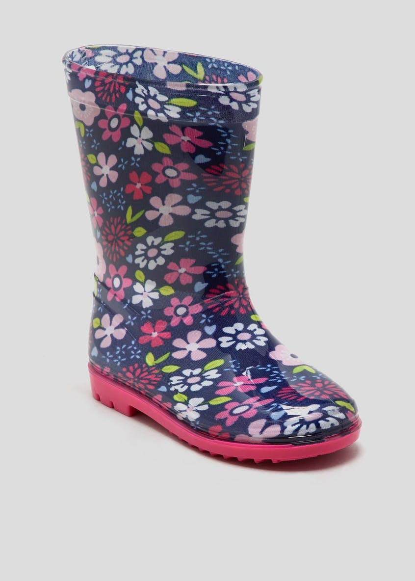 Girls Flower PVC Wellies (Younger 4-12)