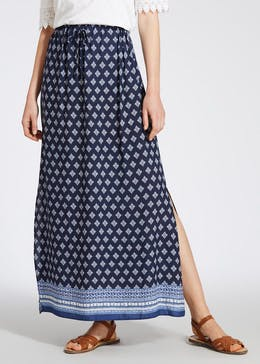 Tile Print Border Maxi Skirt