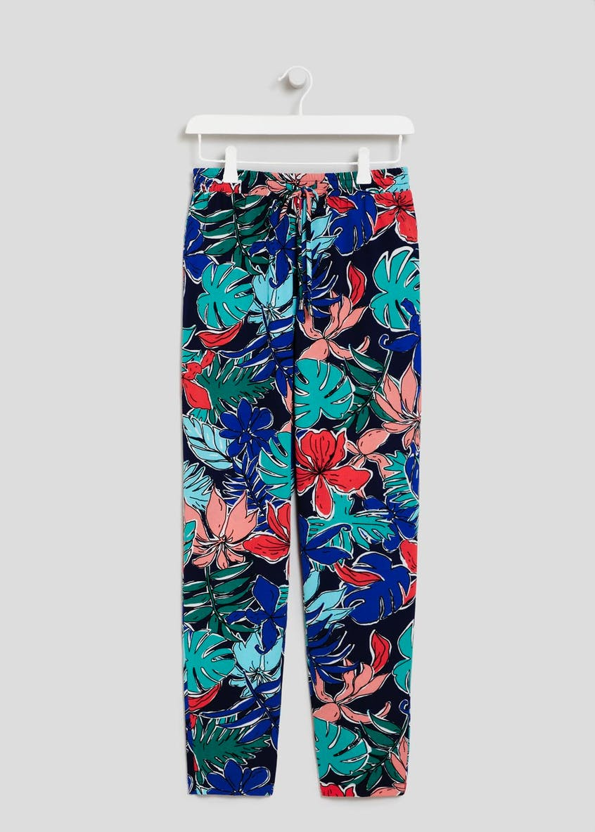 Sketchy Palm Print Tapered Trousers