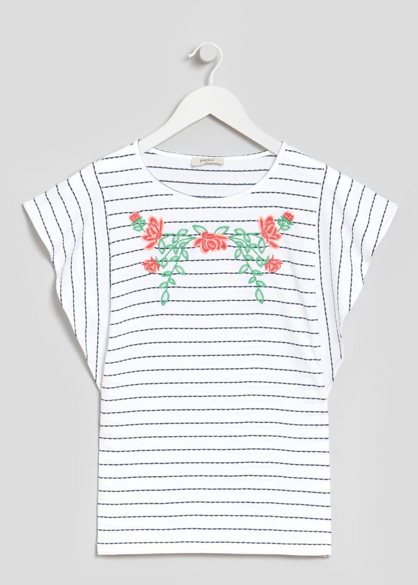 Embroidered Stripe Frill Sleeve T-Shirt