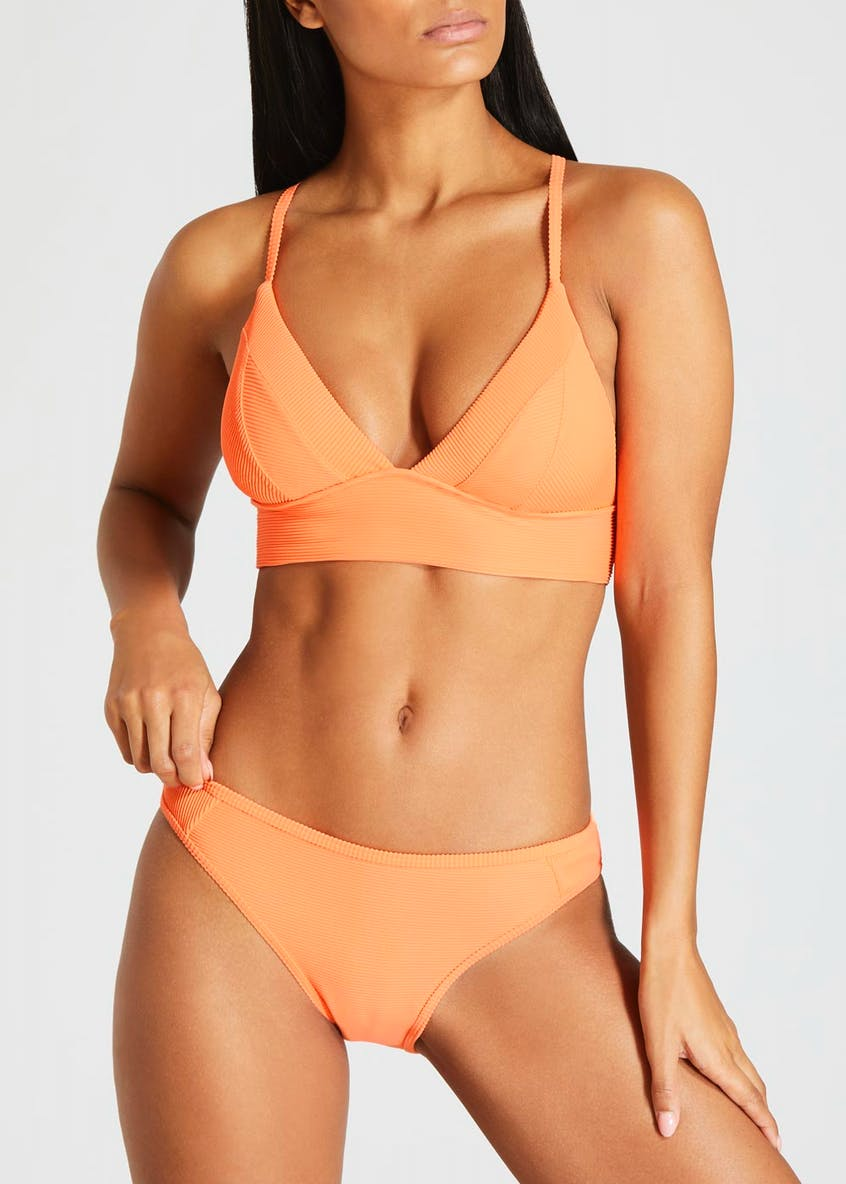 Ribbed Cross Back Bikini Top