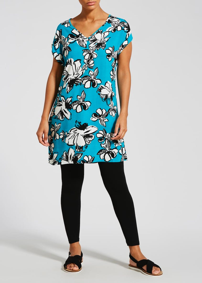 Floral Viscose Tunic Dress - Teal
