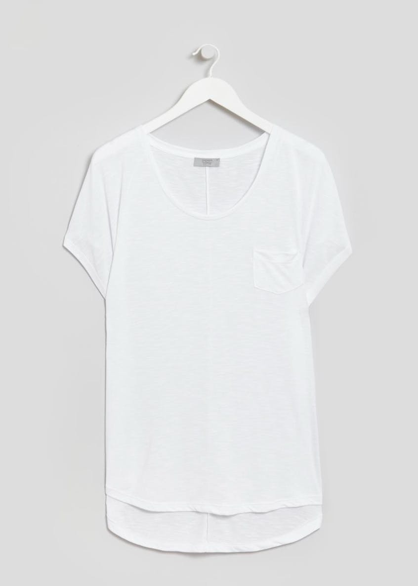 Papaya Curve Longline Modern Basic Pocket T-Shirt
