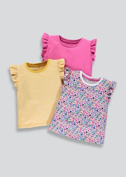 Girls 3 Pack Frill Sleeve T-Shirts (3mths-6yrs)