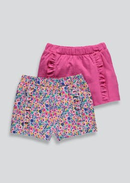 Girls 2 Pack Frill Shorts (3mths-6yrs)