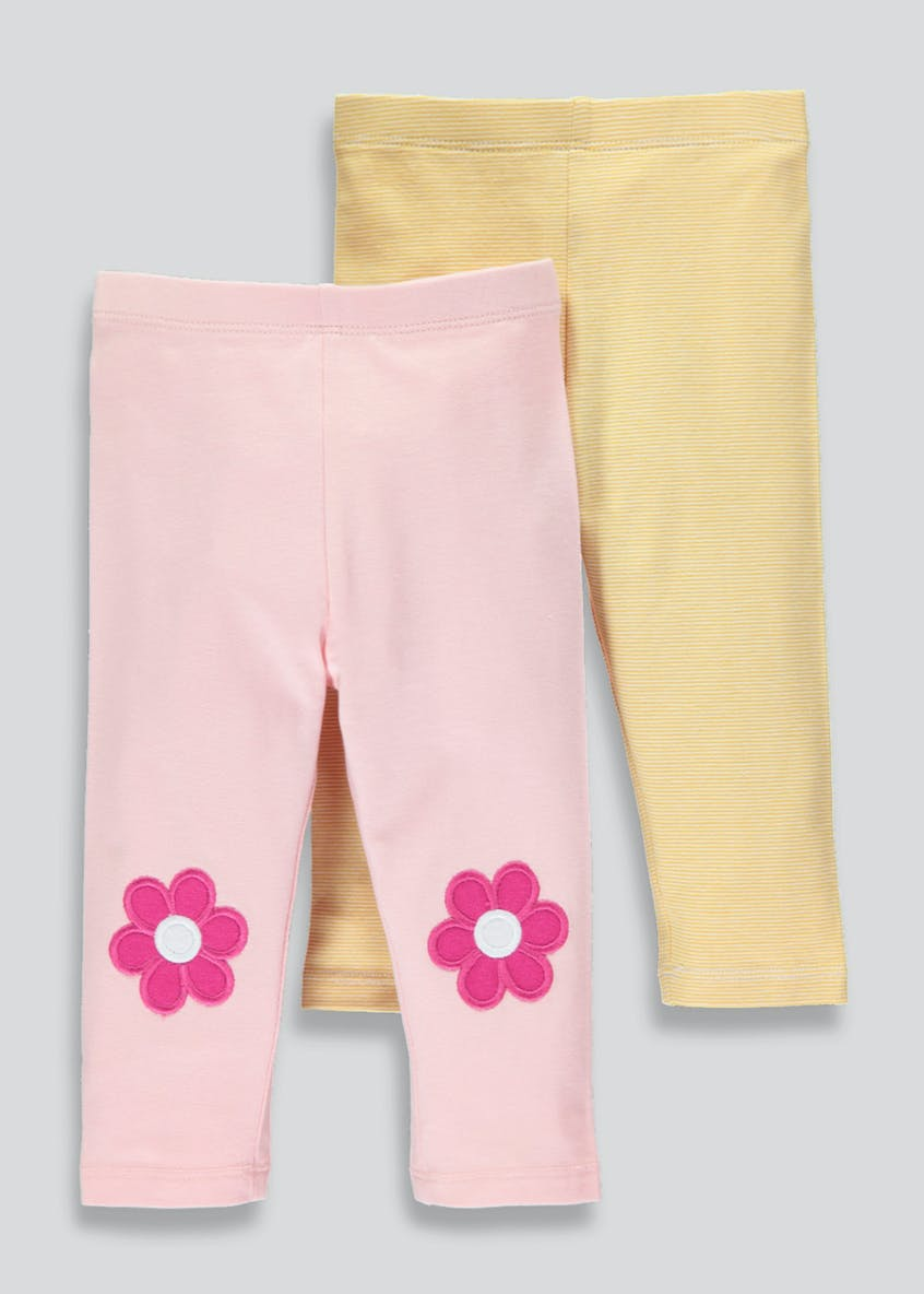 Girls 2 Pack Floral Patch Leggings (3mths-6yrs)