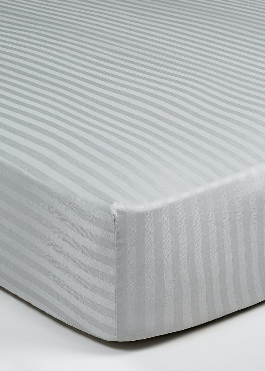 100% Cotton Satin Stripe Fitted Sheet (180 Thread Count)