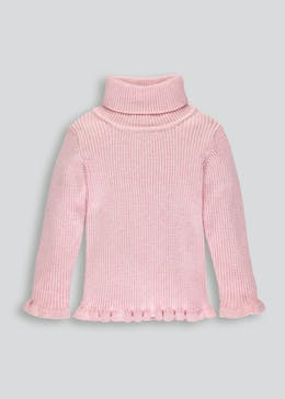 Girls Frill Ribbed Roll Neck Jumper (3mths-6yrs)
