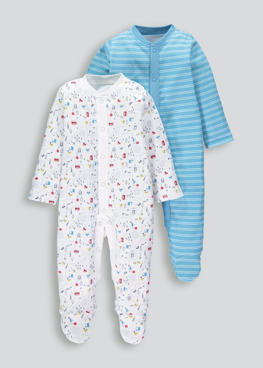 Unisex 2 Pack Transport Sleepsuits (Tiny Baby-18mths)