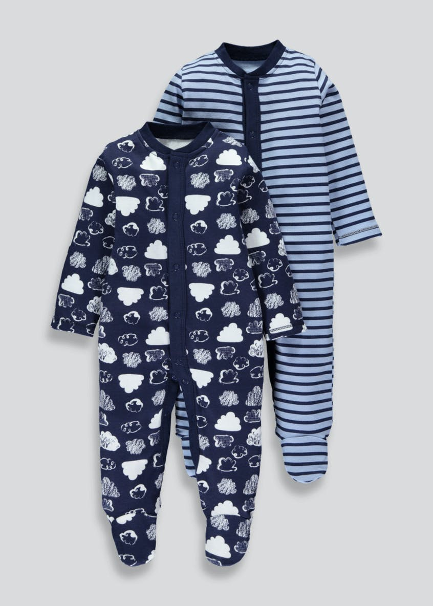 Boys 2 Pack Cloud Sleepsuits (Tiny Baby-18mths)