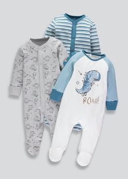 Boys 3 Pack Dinosaur Sleepsuits (Tiny Baby-18mths)
