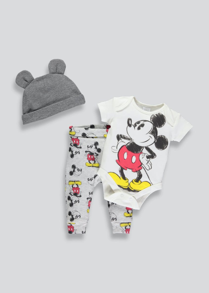 Unisex Disney Mickey Mouse 3 Piece Set (Newborn-12mths)