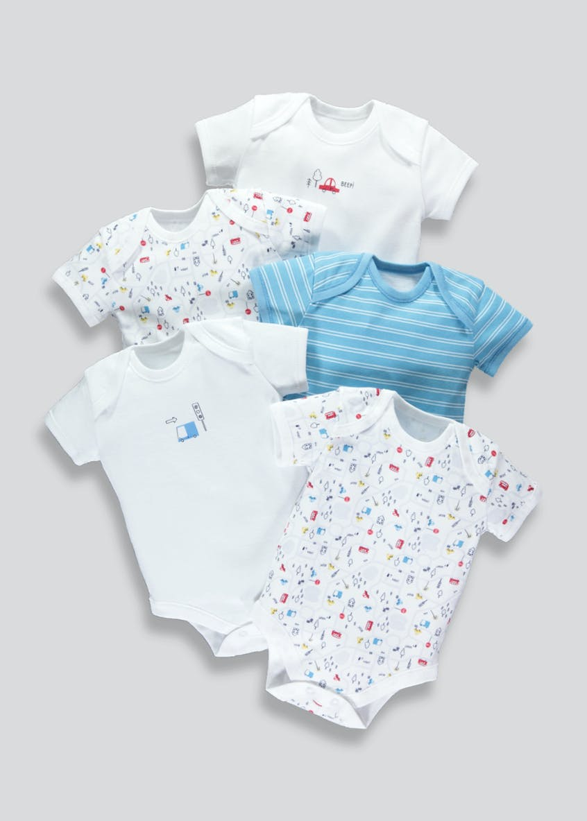 Boys 5 Pack Transport Bodysuits (Tiny Baby-23mths)
