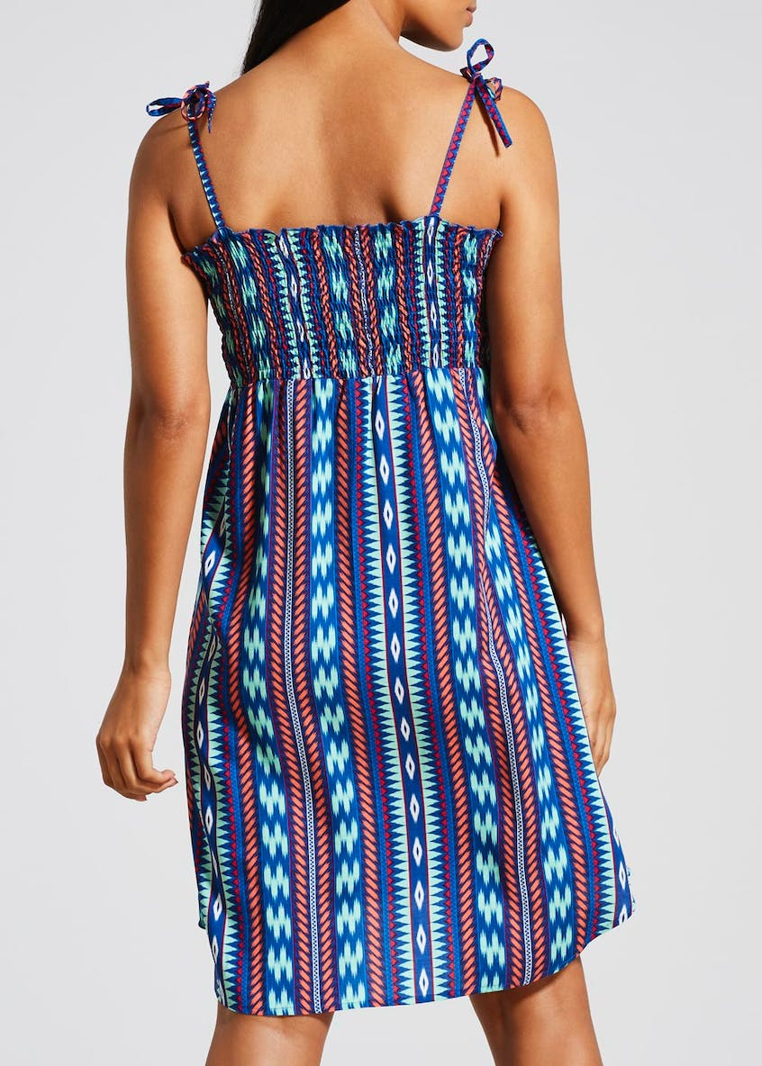 Tie Sleeve Printed Sundress