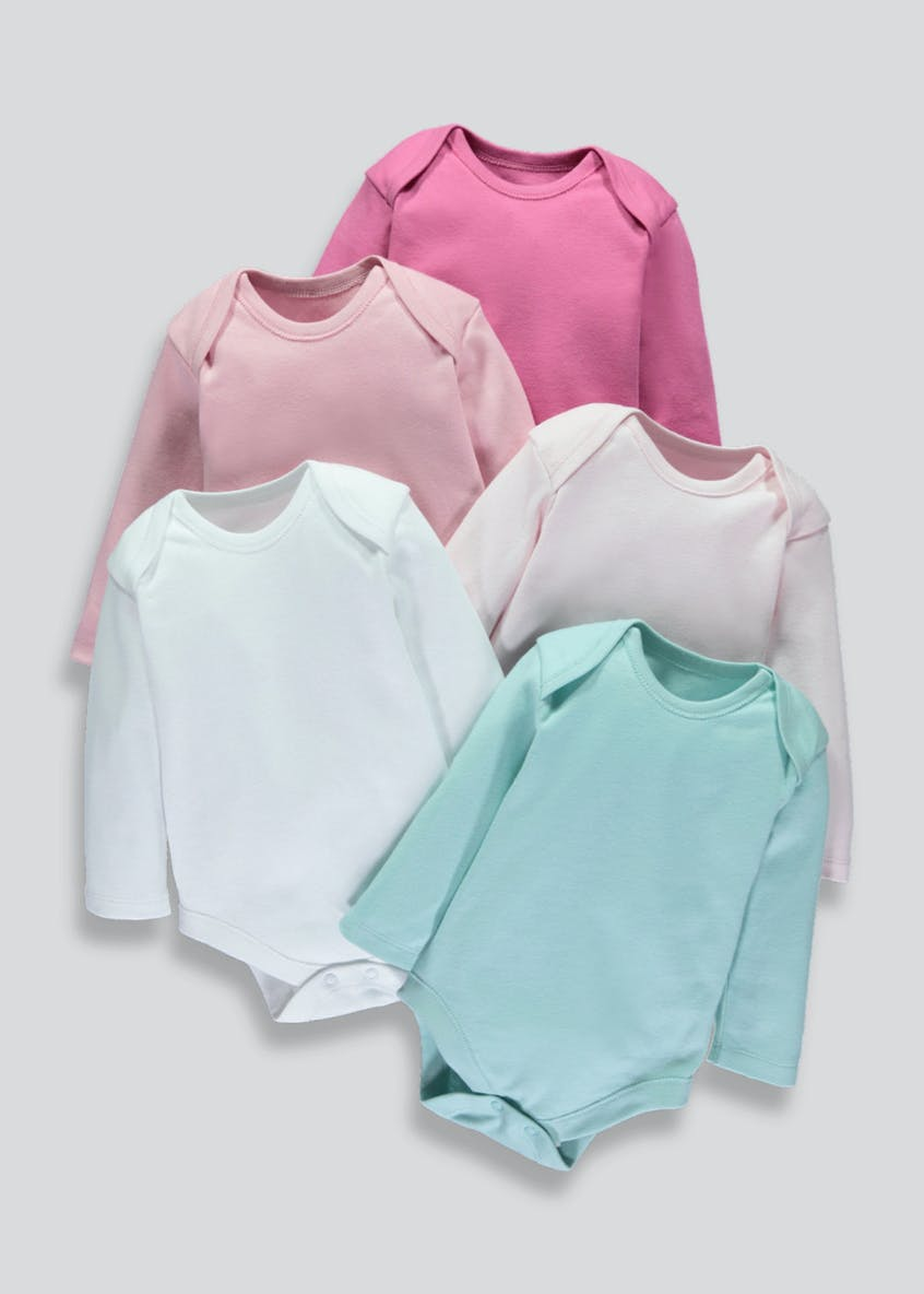 Girls 5 Pack Long Sleeve Bodysuits (Newborn-23mths)