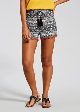Embroidered Hem Aztec Viscose Shorts