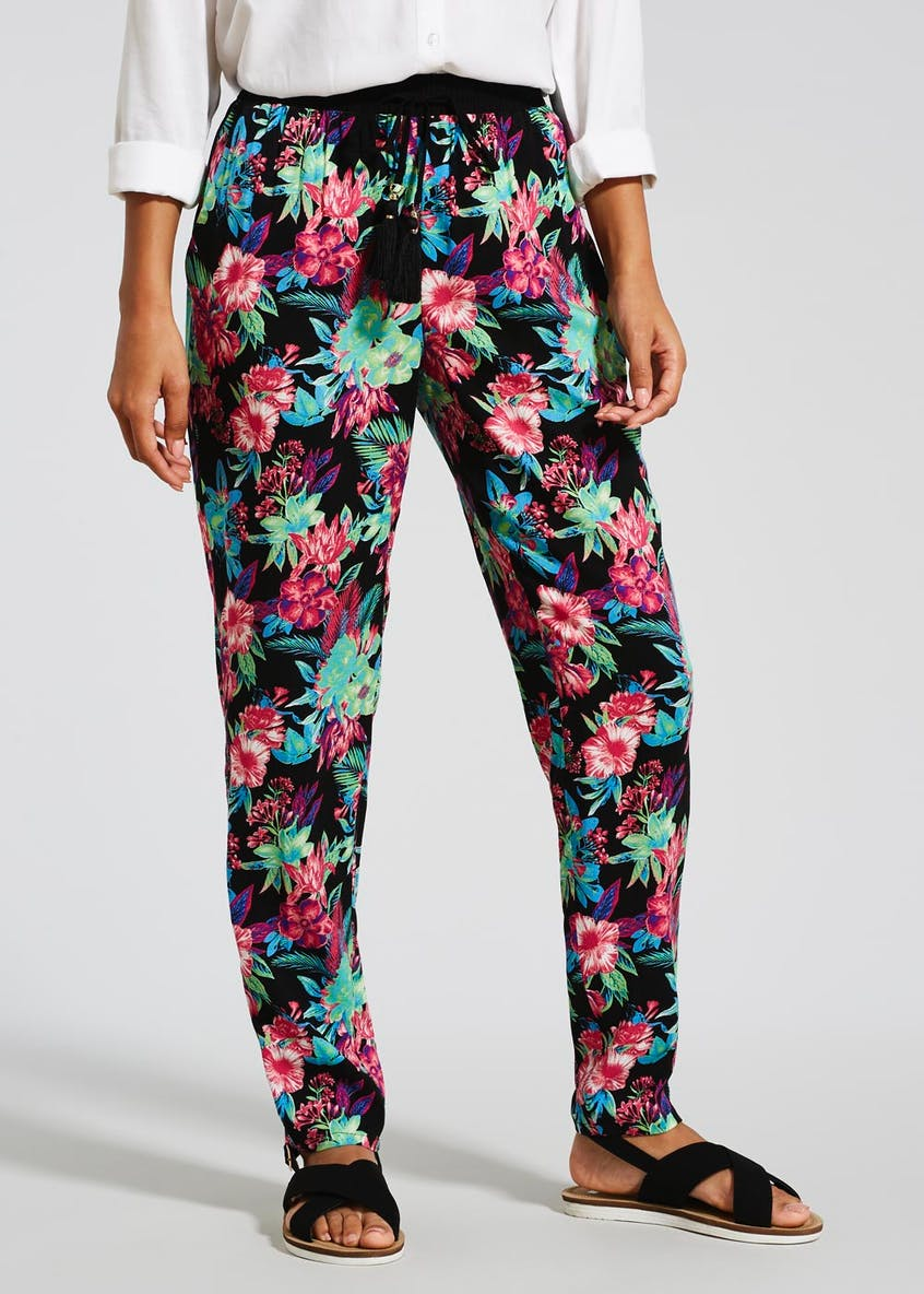 Bright Floral Tapered Trousers