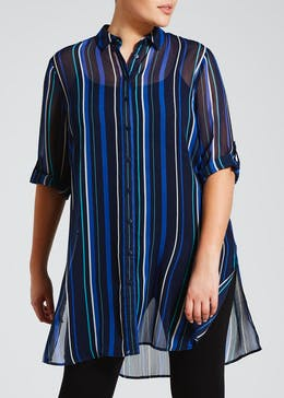 Papaya Curve Stripe Shirt Tunic