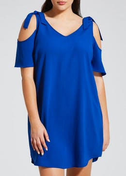 Papaya Curve Tie Cold Shoulder Dress