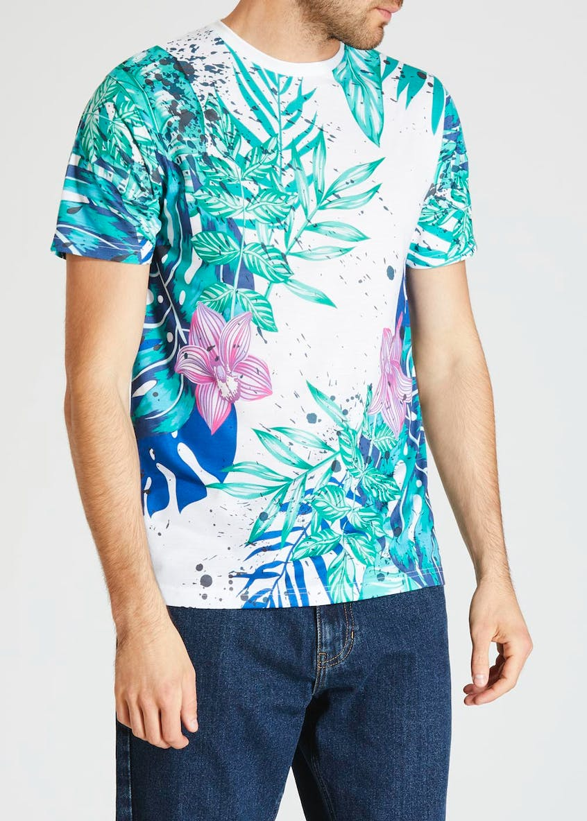 Floral & Paint Splatter Sublimation Print T-Shirt