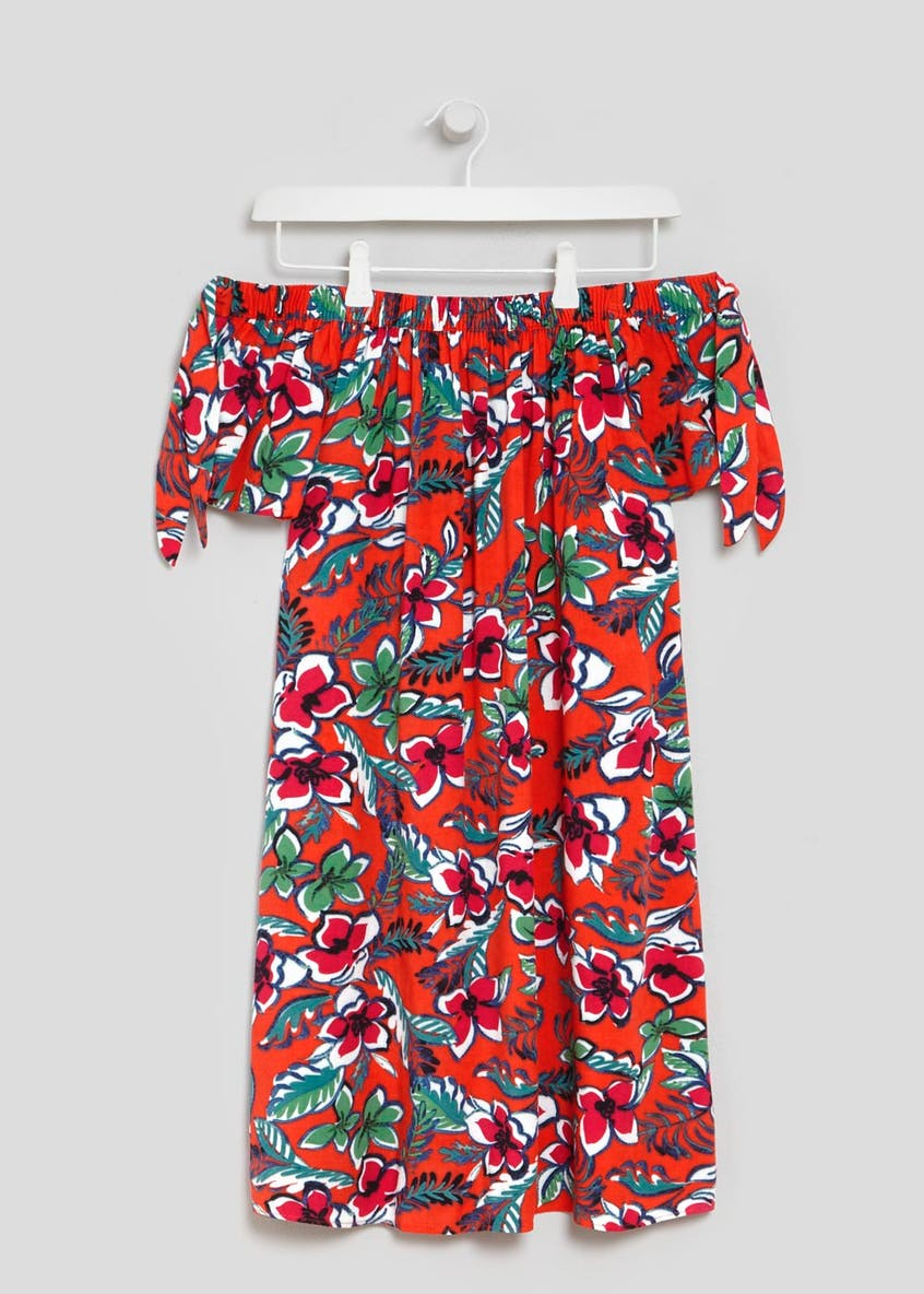 Floral Tie Detail Bardot Dress - Red