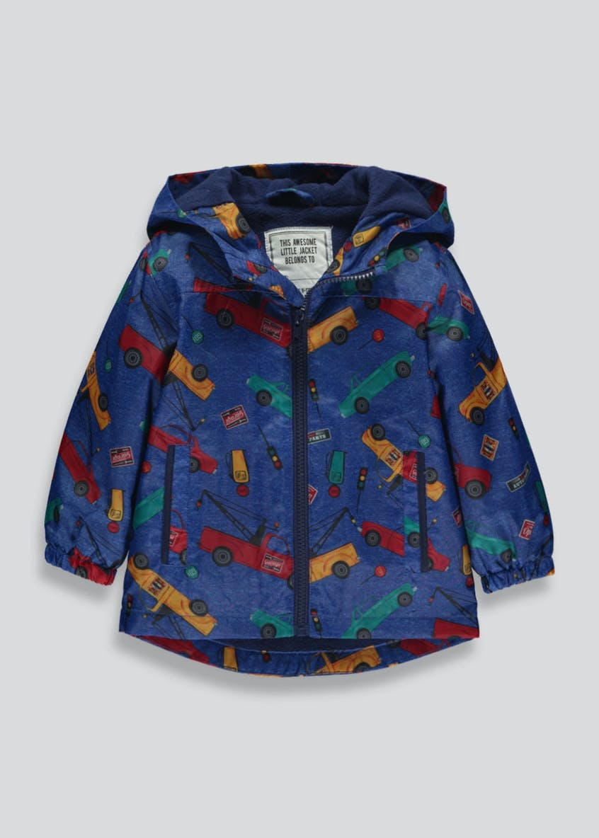 Boys Car Print Showerproof Hooded Rain Mac (6mths-6yrs)