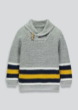 Boys Shawl Neck Stripe Jumper (3mths-6yrs)