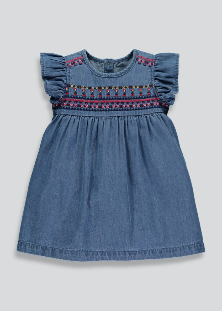 Girls Embroidered Denim Dress (3mths-6yrs)