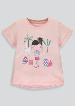 Girls Glitter Llama Printed T-Shirt (3mths-6yrs)