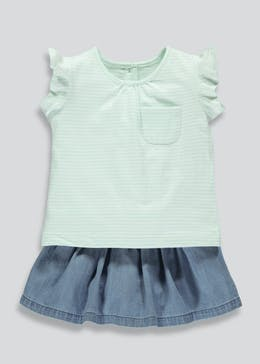 Girls T-Shirt & Denim Skort (Tiny Baby-18mths)