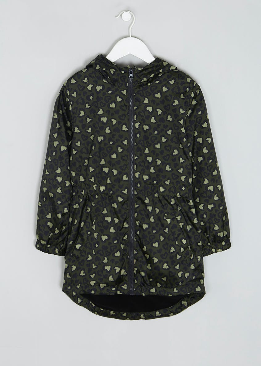 Girls Candy Couture Heart Camouflage Rain Mac (9-16yrs)