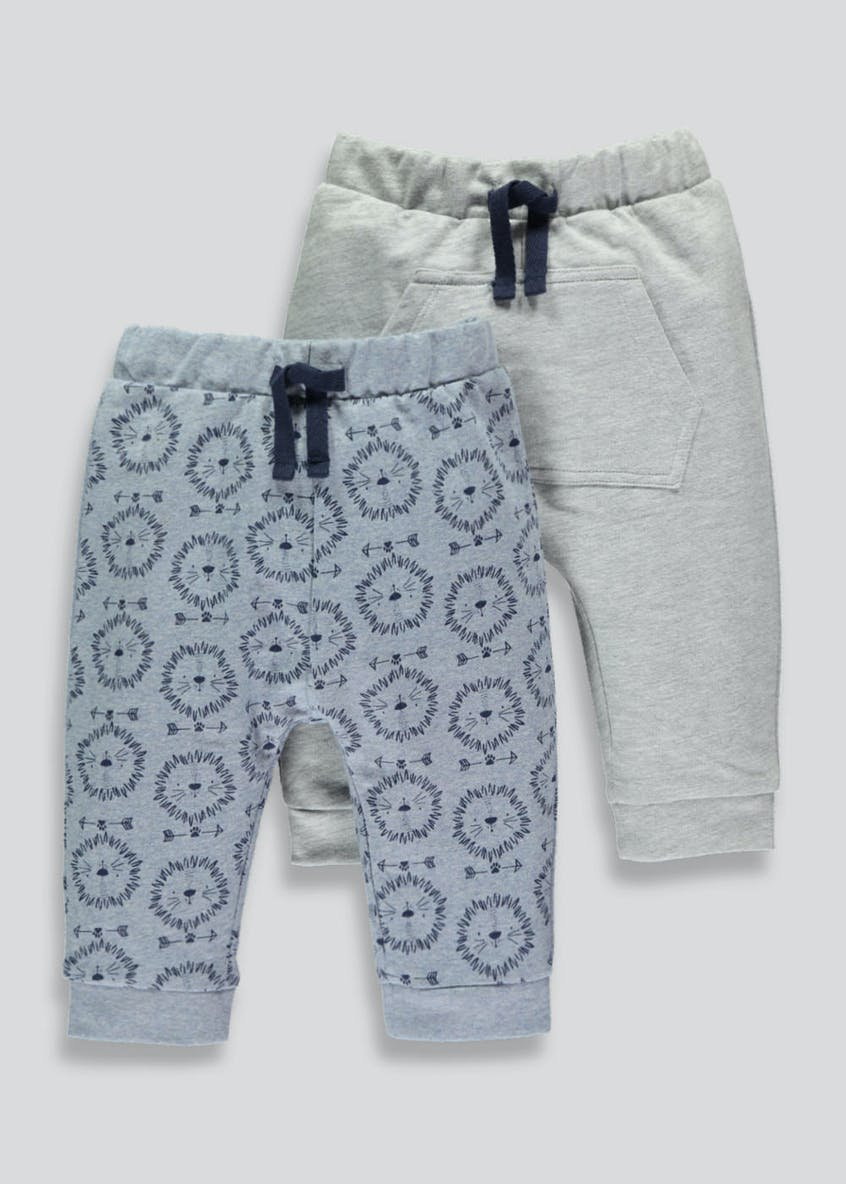 Unisex 2 Pack Jogging Bottoms (Tiny Baby-18mths)