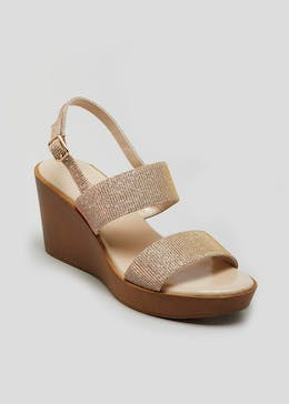 Soleflex Rose Gold Glitter Wedges
