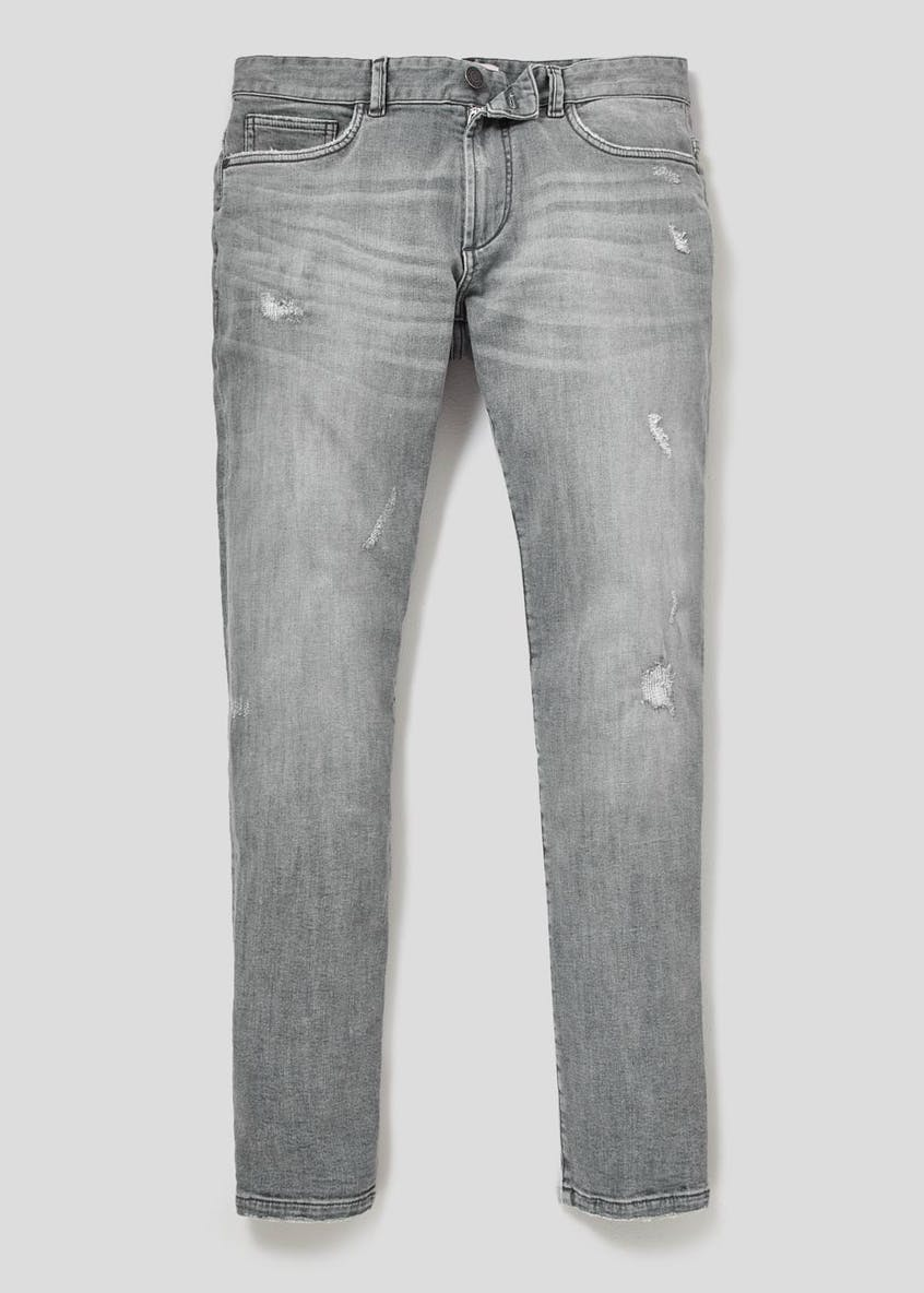 Stretch Slim Fit Rip & Repair Jeans