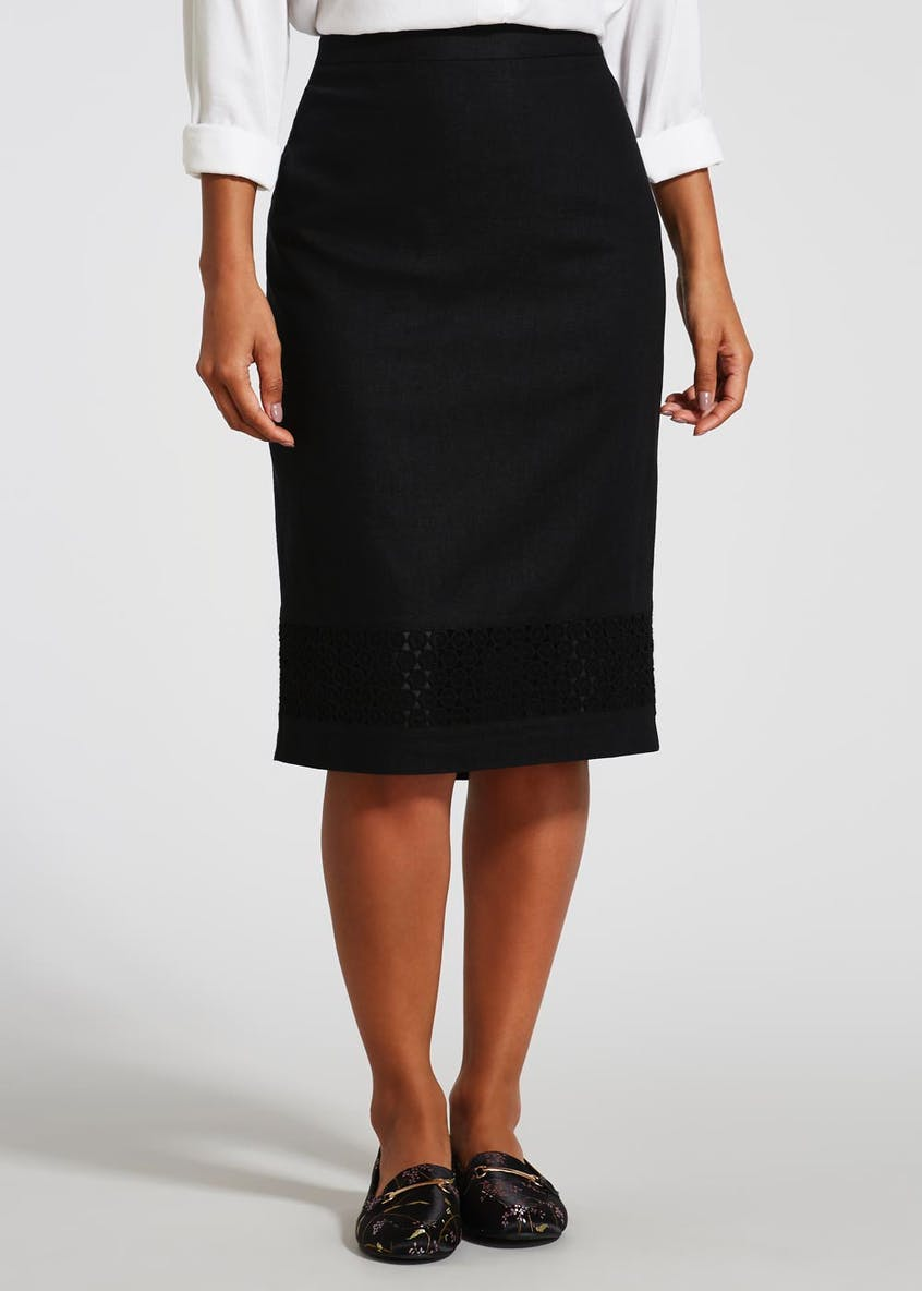 Lace Hem Linen Pencil Skirt