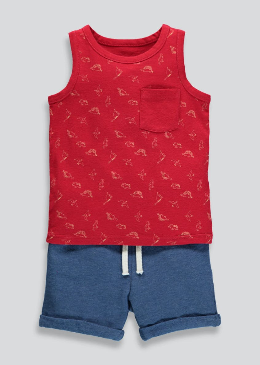 Boys Dinosaur Vest & Shorts Set (3mths-6yrs)