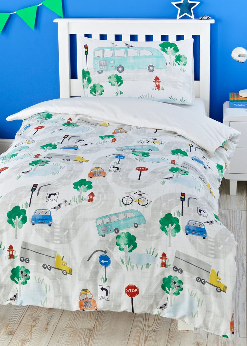 Toddler 100% Cotton Car Duvet Cover (Small Bed)
