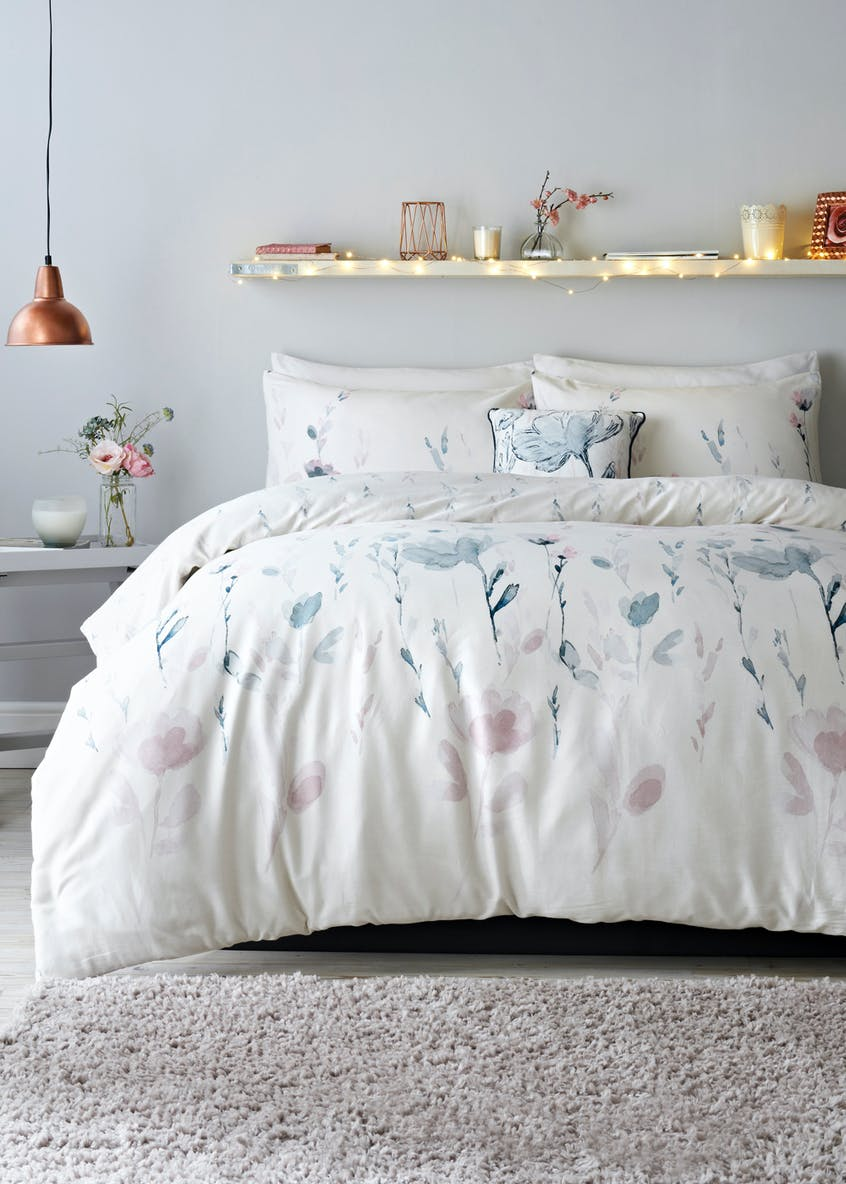 100% Cotton Sateen Watercolour Floral Duvet Cover (200 Thread Count)