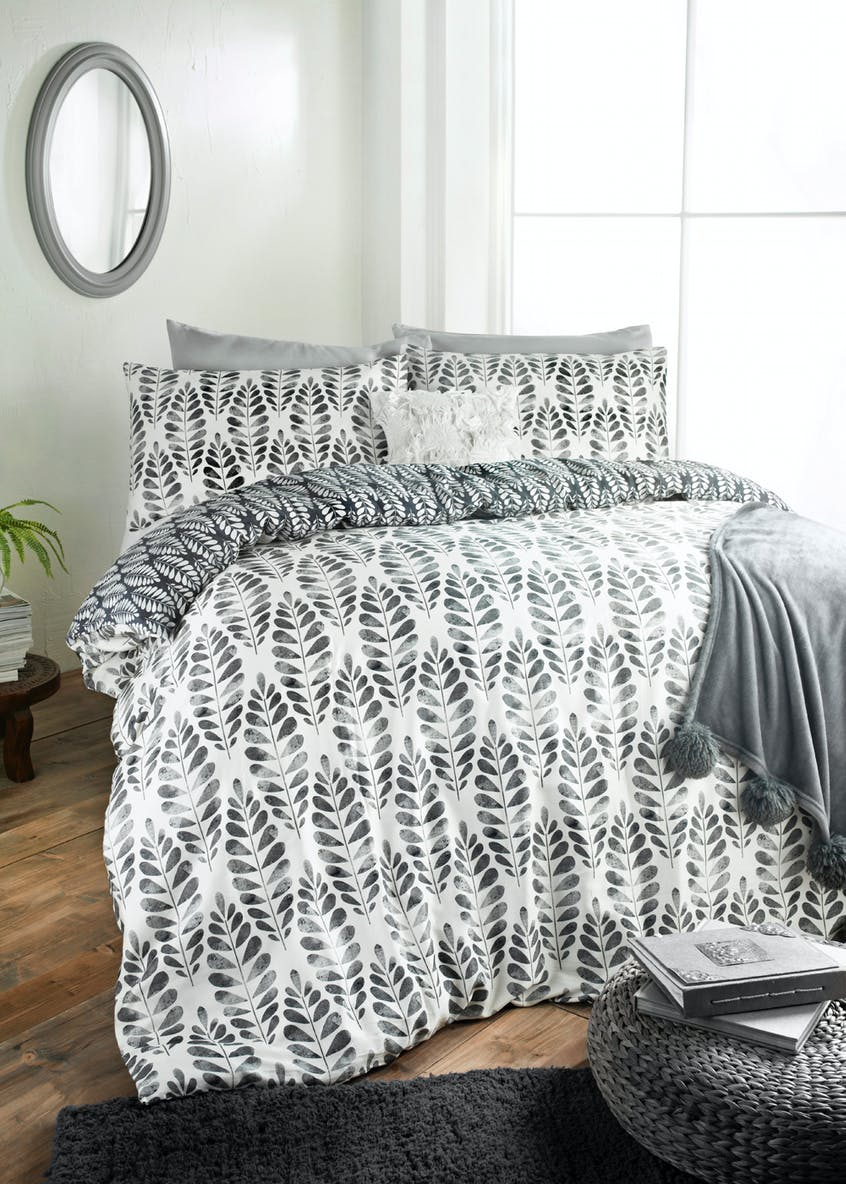 100% Cotton Sateen Leaf Print Duvet Cover (200 Thread Count)