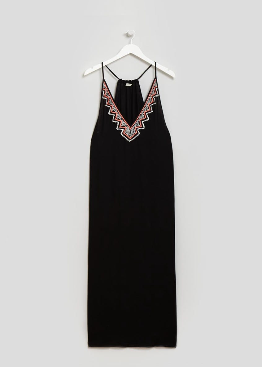 Embroidered Maxi Dress - Black