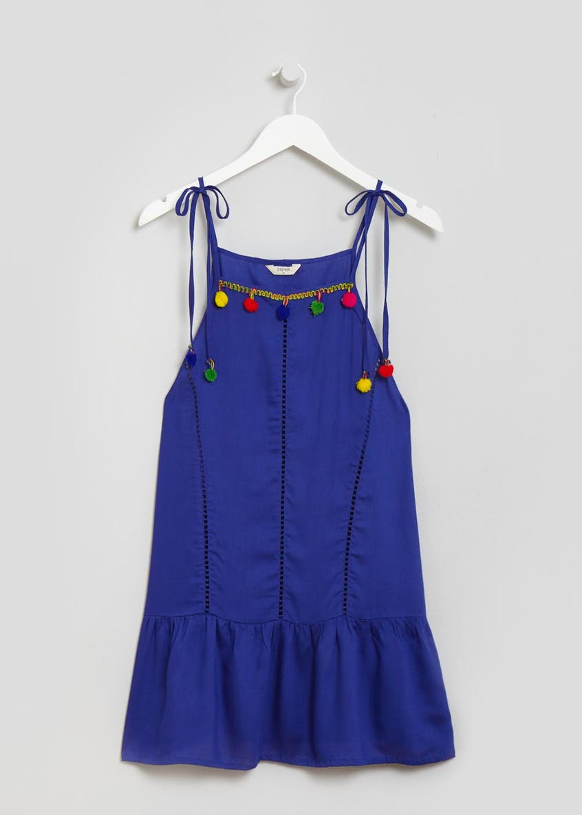 Pom Pom Swing Beach Dress - Blue
