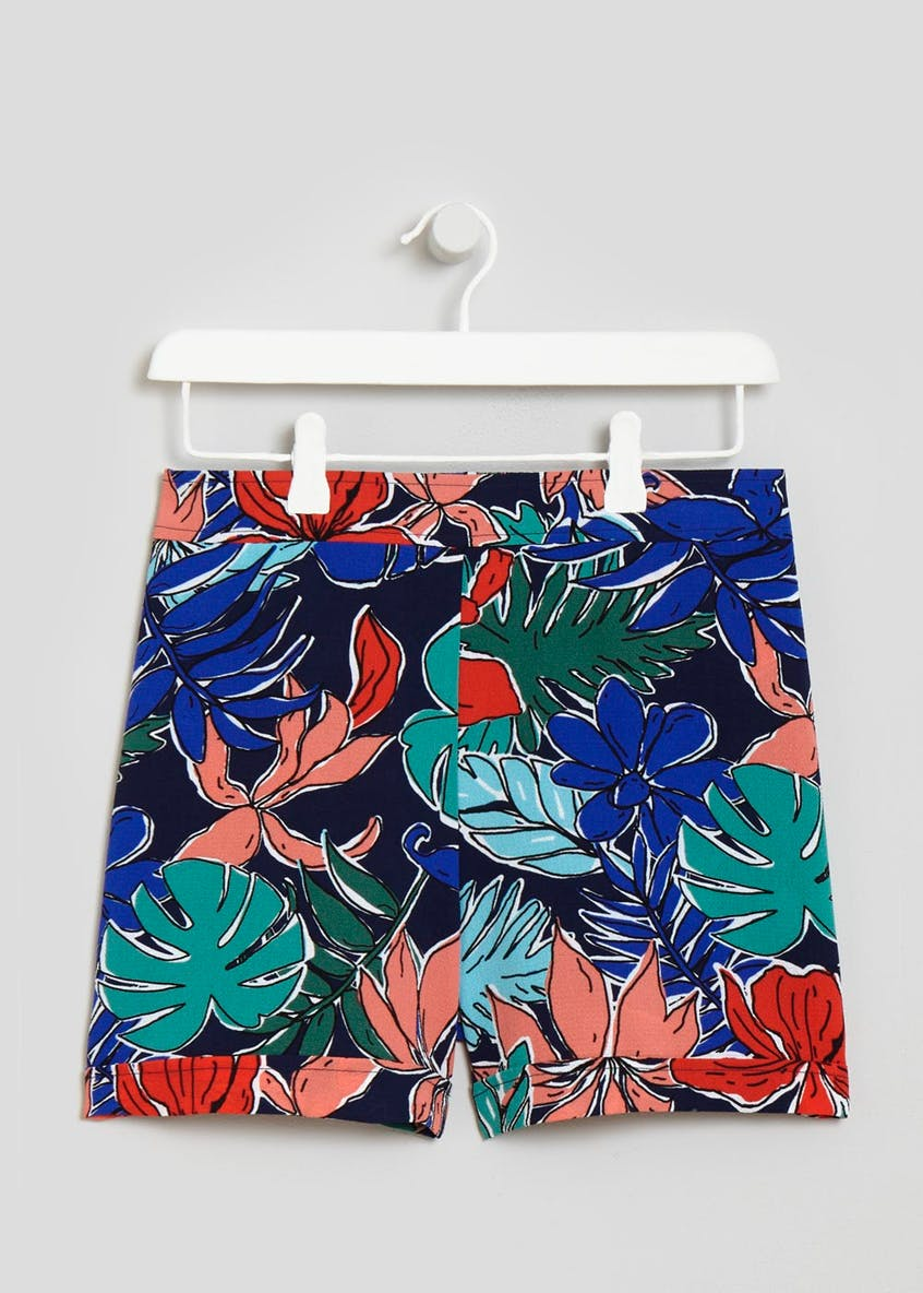 Flat Front Tropical Shorts