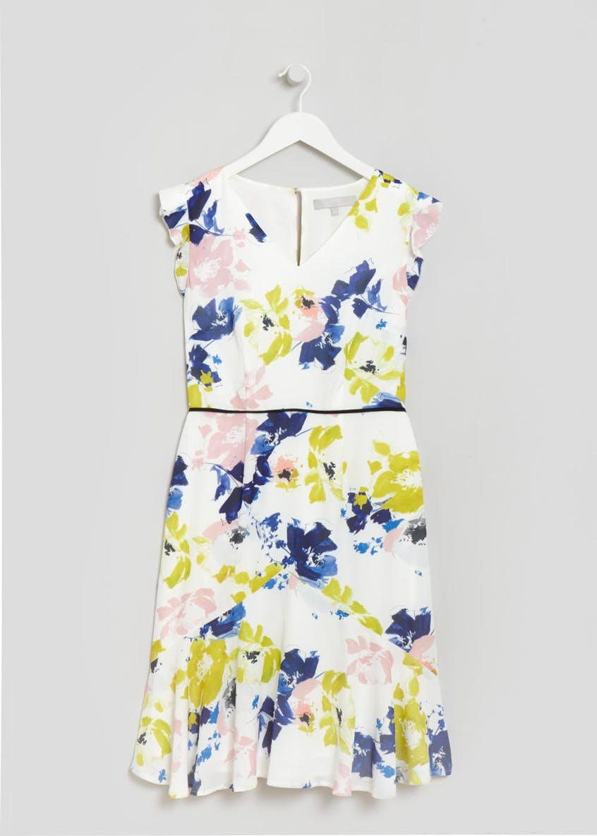 FWM Floral Frill Tea Dress - White