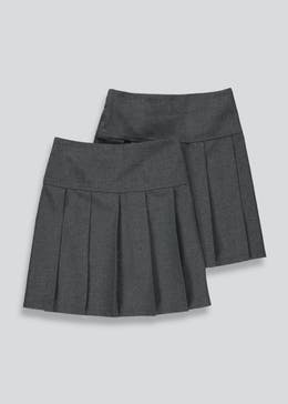 Girls 2 Pack Pleated School Skirts (3-13yrs)