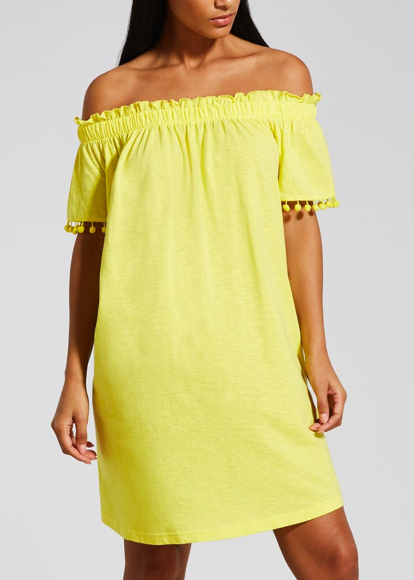 Pom Pom Trim Bardot Dress
