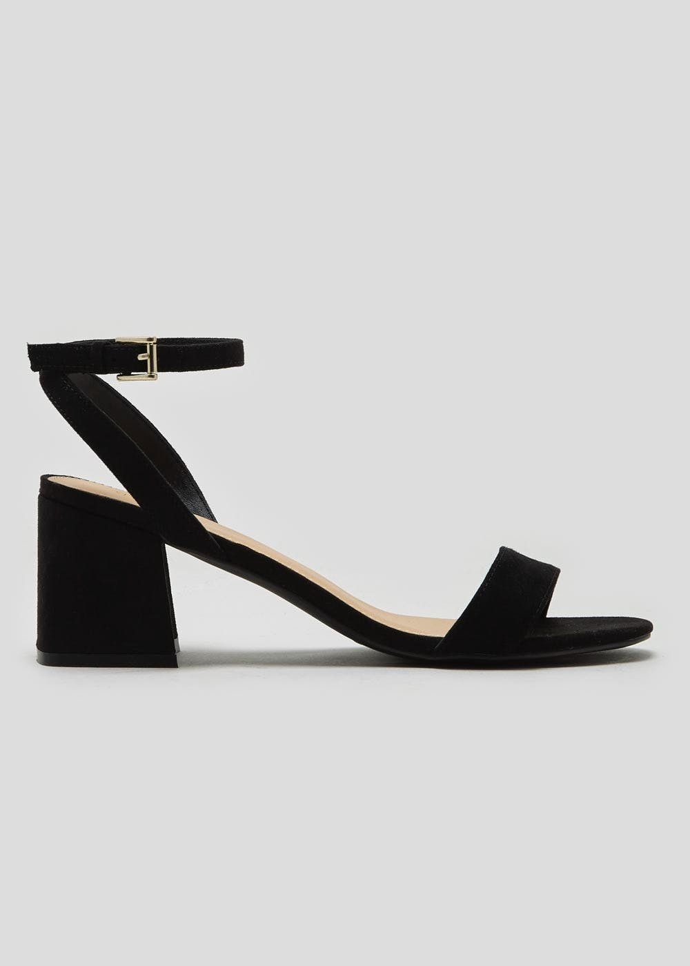 25349f769cb9 Wide Fit Block Heel Strappy Sandals – Black – Matalan